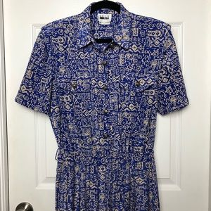 Blue and tan Leslie Fay dress